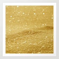 gold glitter Art Prints featuring Glitter Gold by Alice Gosling