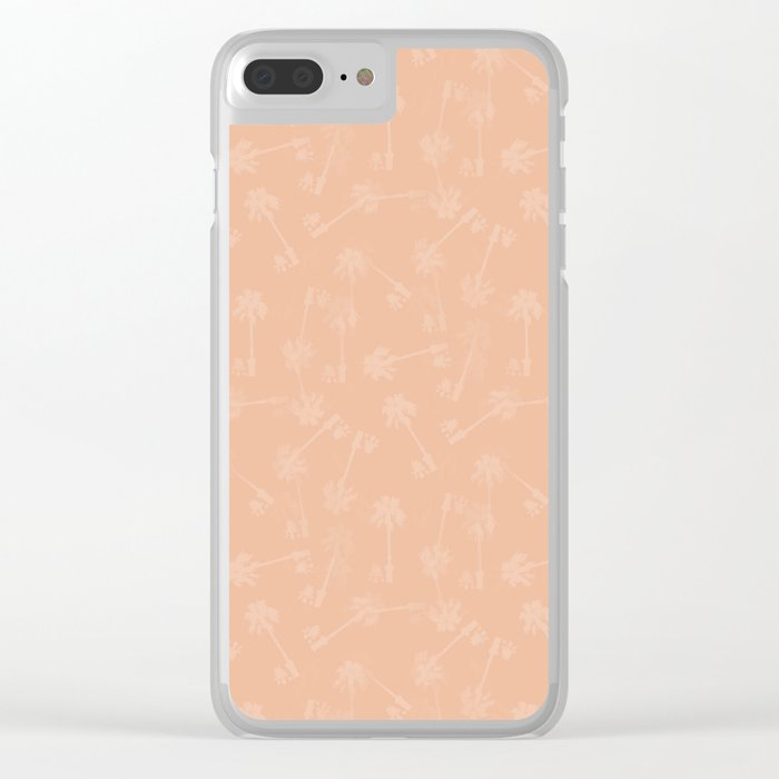 Cute palm leaves pattern on nude Clear iPhone Case