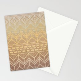 Neutral Tan & Gold Tribal Ikat Pattern Stationery Cards