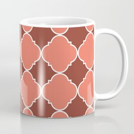 Living Coral and Mauve Moroccan Tile Ornamental Pattern with White Border Coffee Mug