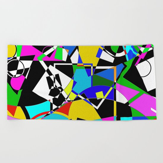 Colour Pieces - Geometric, eclectic, colourful, random pattern of shapes Beach Towel