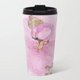 Winter Woodland Stranger- Cute Flamingo Bird Snowy Forest Illustration Metal Travel Mug