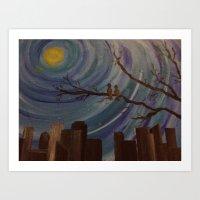 Night skyline from Birds view Art Print