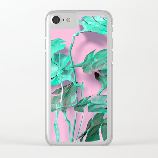 Tropical Leafs Clear iPhone Case