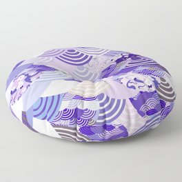 Nature background with japanese sakura flower, Cherry, wave circle. Ultra Violet Color of the Year Floor Pillow