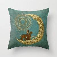 chris brown Throw Pillows featuring Moon Travel by Eric Fan