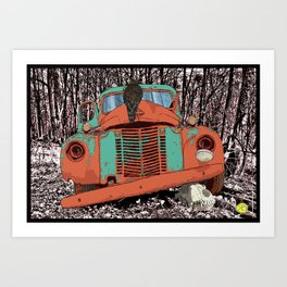 Old speed wagon with a wolf skull and a hawk. Art Print