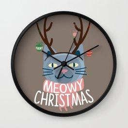Meowy Christmas! Wall Clock