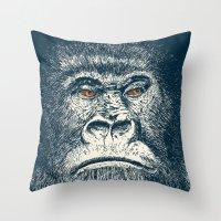 gorilla Throw Pillows featuring Gorilla by Lara Trimming