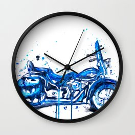 Blue Motorcycle Wall Clock
