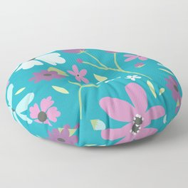 Blue Flowers Floor Pillow