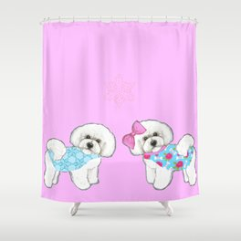 Bichon Frise Dogs in love- wearing pink and blue coats Shower Curtain