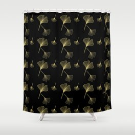 Ginkgo Black Gold Shower Curtain