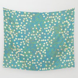 Dots and Rings-Blue Wall Tapestry