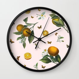 Oranges and Butterflies in Blush Wall Clock