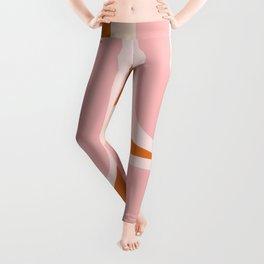 Retro Groove Pink and Orange - Cheerful Abstract Minimalist Pattern Leggings