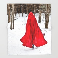 Little Red Riding Hood Runs Through The Woods In Winter Throw Blanket