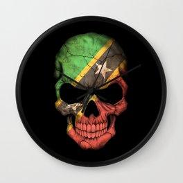 Dark Skull with Flag of Saint Kitts Wall Clock