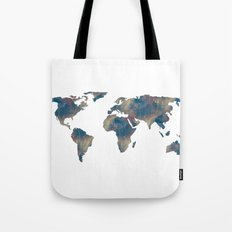 World Map Space Watercolor in Blue Tote Bag