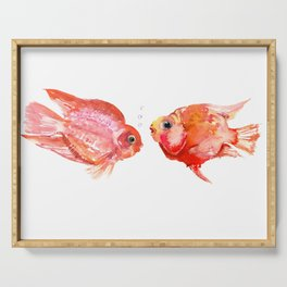 Two Love Fish, Fish art, Love, aquarium design, Parrot Cichlids Serving Tray