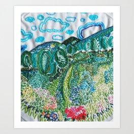 cheerful handmade embroidery in the digital world Art Print