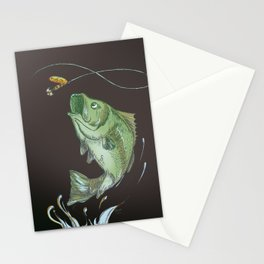 Bass Jumping At Night Stationery Cards
