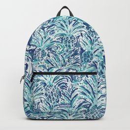 PINEAPPLE WAVE Blue Painterly Watercolor Backpack