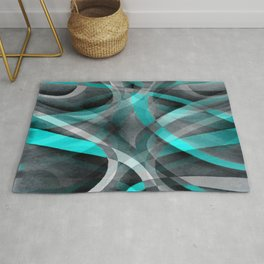 Eighties Turquoise and Grey Arched Line Pattern Rug