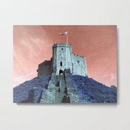 Cardiff Castle Keep-Wales Blue and Pink Metal Print
