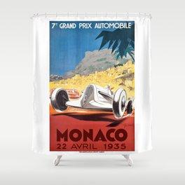 1935 Monaco Grand Prix Race Poster  Shower Curtain