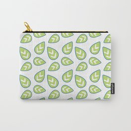 Modern green white abstract geometrical leaves Carry-All Pouch