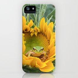 A cute Frog in a Sunflower. iPhone Case