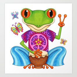 Peace Frog - Colorful Hippie Frog Art by Thaneeya McArdle Art Print