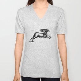 Vintage Deer Illustration Unisex V-Neck