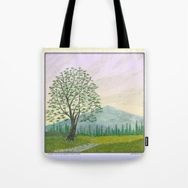 OREGON ASH TREE IN SPRINGTIME VINTAGE PENCIL COLOR DRAWING Tote Bag