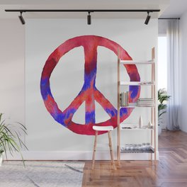 Patriotic Peace Sign Tie Dye Watercolor Wall Mural