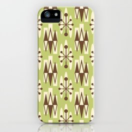 Retro Mid Century Modern Atomic Triangles 729 Olive Green and Brown iPhone Case