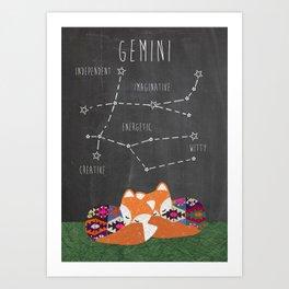 Gemini Zodiac constellation and traits Art Print