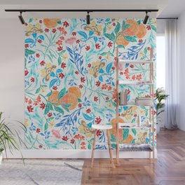 Good Fortune Asian Floral Pattern With Orange Blossoms Wall Mural
