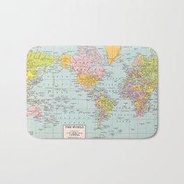 World Map Bath Mat