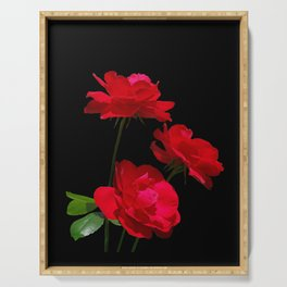Red roses on black background Serving Tray