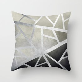 Textured Metal Geometric Gradient With Silver Throw Pillow
