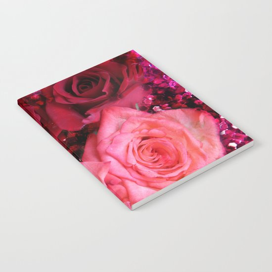 Glitter and Roses - Red and Pink Notebook