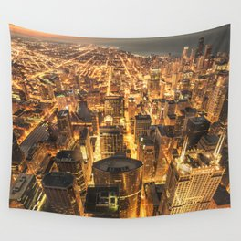 chicago aerial view Wall Tapestry