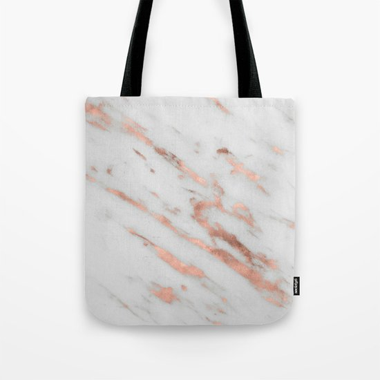 Marble - Rose Gold Marble with White Gold Foil Pattern iPhone Case and Throw Pillow Design Tote Bag