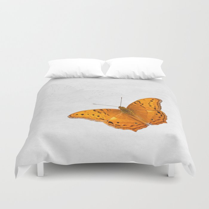 Erfly And Ghost On Textured White Duvet Cover