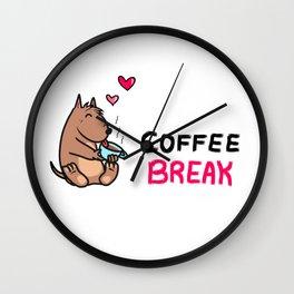 Cute dog drinking coffee Wall Clock