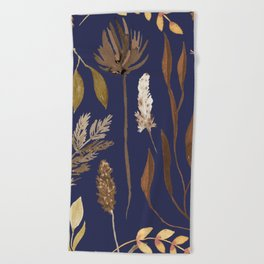 Fall Foliage on Navy Beach Towel