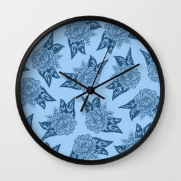 Cabbage Roses in Blue Wall Clock