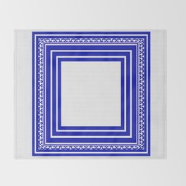 Blue and White Lines Geometric Abstract Pattern Throw Blanket